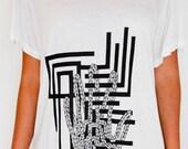 Women's Tshirt Tunic Top - White - Custom Printed Hand Drawn Original Design Rope Hand