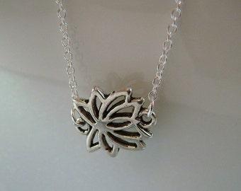 Silver Lotus NECKLACE or BRACELET/ Sideways Lotus Flower bracelet / yoga necklace boho modern chic