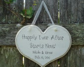 Wedding Sign, Hand Painted Wooden Personalized White Shabby Chic Wedding Sign, Happily Ever After Starts Now. Heart Shaped Wooden Sign.