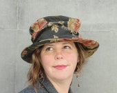 Women's Edwardian-Downton Abbey- Floral Tapestry Hat - Period Hat with Asymmetrical Brim-1920's Vintage Inspired- Turn of the Century