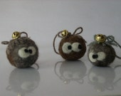 Tiny Ball Ornament Family needle felted gift wool eco friendly