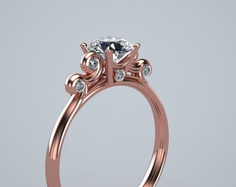 Diamond Solitare Wave Engagement Ring 14K Rose Gold