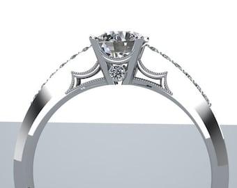 Diamond Solitare Half Eternity Engagement Ring Scalloped Detail 14K White Gold