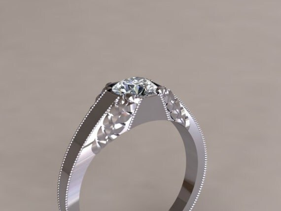 Leaf Pattern and Octagon Diamond Engagement Ring 14K White Gold