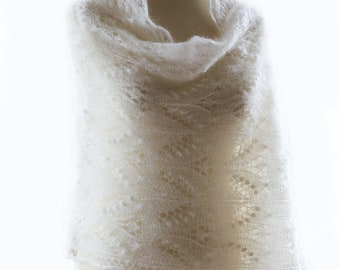 Queen Silvia lace shawl , hand knitted lace stole,white kidsilk shawl