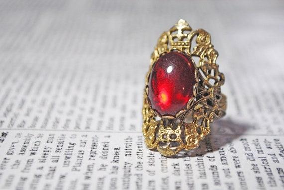 Vintage Red Filigree Cocktail Adjustable Ring