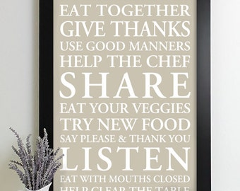 Family Rules Poster Subway Art Print House Rules Family Rules Sign Kitchen Art Decor Manners