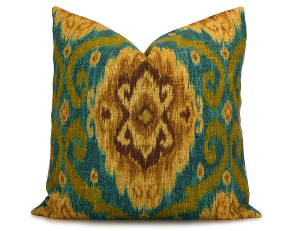 items similar to teal olive green and brown ikat decorative pillow cover from iman home. Black Bedroom Furniture Sets. Home Design Ideas