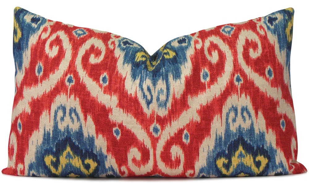 Red And Blue Iman Ikat Lumbar Pillow Cover Tribal Style
