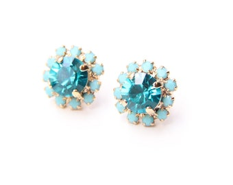 ON SALE! True Blue Crystal Stud earrings - rhinestones posts - 24k gold plated