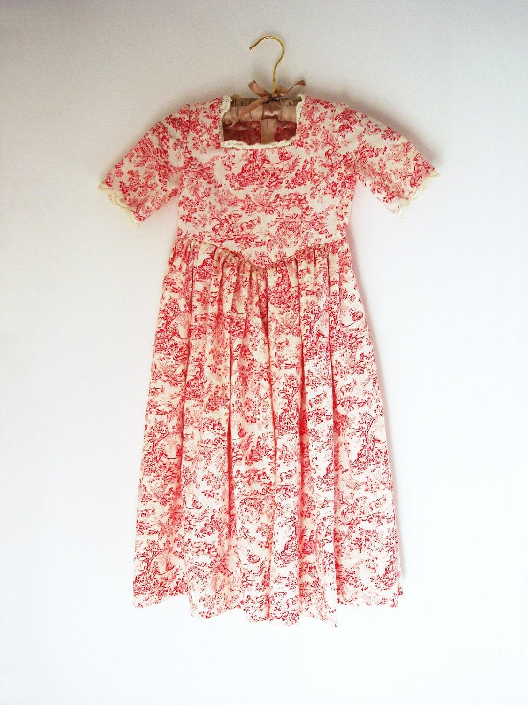 Vintage Handmade Toile Girl Dress 70s Little Girl Outfit