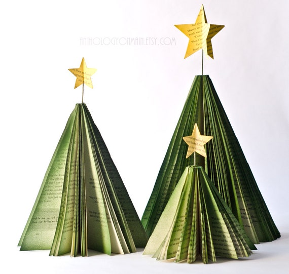 Christmas Tree Book Page Decorations - Set of Three Holiday Trees with Star Toppers - Paper Holiday and Winter Decor
