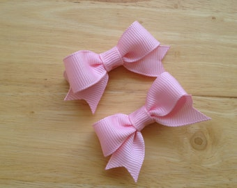 Small pink hair bows - baby bows, toddler bows, pink bows, small bows, hair clips, girls hair bows, girls bows, pink bows