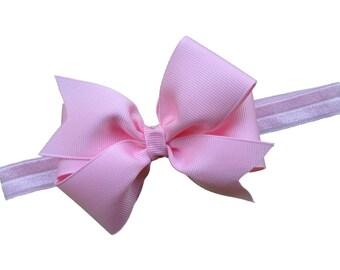 You pick color - baby bow headband, headband with matching 4 inch bow, baby headband, newborn headband, baby girl headband