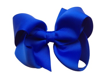 4 inch blue hair bow - blue bow, royal blue bow, 4 inch bow, boutique bow, blue hair bows, girls hair bows, toddler bows, girls bow