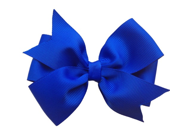 4 inch blue hair bow - blue bow, royal blue bow, 4 inch bows, pinwheel bows, girls hair bows, toddler bows, girls bows, blue hair bows