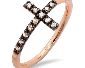 Brown Diamond Sideways Cross Ring