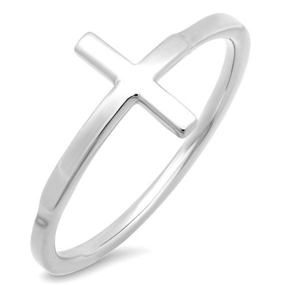 white gold sideways cross ring