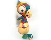 Sculpture Parrot, Rainbow Bird, Secret Compartment, dead Baby Fetus