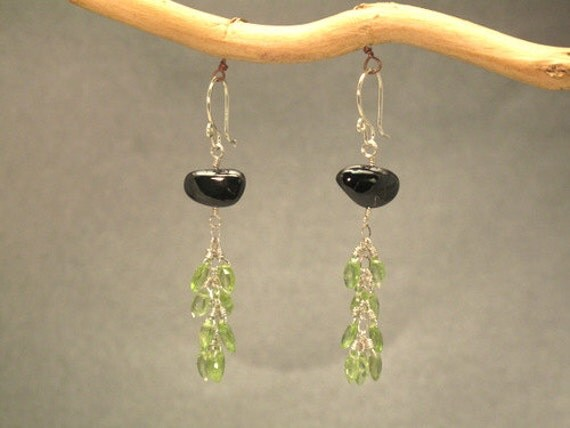 Black garnet and vessonite gemstone earrings Princess 103