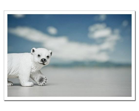 Nursery Decor, Polar Bear Arctic Print, Kids Room, Still Life Photography, Icy blue, Big dipper Constellation 8x12