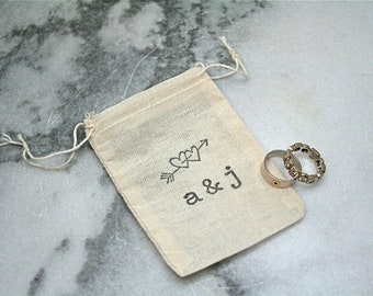 Personalized wedding ring bag.  Ring pillow alternative, ring bearer accessory, ring warming ceremony.  Hearts with distressed initials.