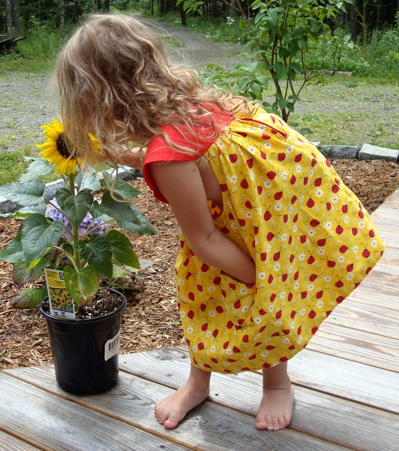 Toddler's Dress In Ladybug Yellow And Red Cotton With Pockets - Size 3T