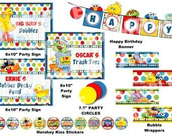 Sesame Street Party Package - Elmo Cookie Monster Big Bird Oscar the Grouch Grover Bert Ernie Abby Cadabby Zoe - Polka Dot Party Printable