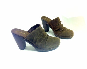 9 Brown Leather Platform Clogs - Ruched Leather Slip On Wooden Clogs 9.5