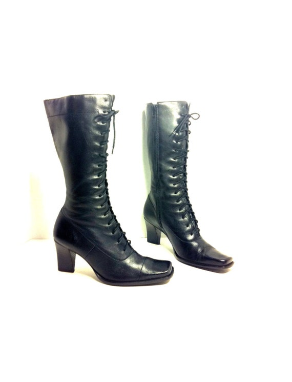 leather lace up knee high boots 7 5 black