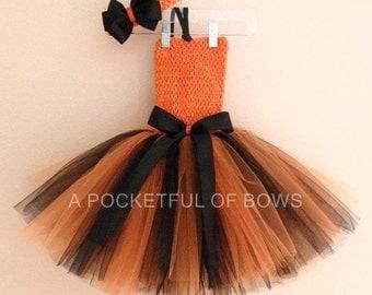 Orange and Black Tutu Dress, Halloween Tutu Dress