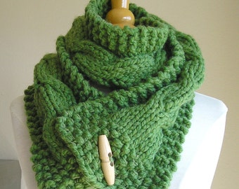 "Cabled Scarf -- ""Lucky Horseshoes"" -- Wool Blend -- Medium Version, withbutton options"