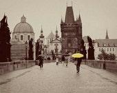 Prague photograph, charles bridge, 8x12 photo, yellow umbrella, czech republic, vintage, sepia, wall decor, gift under 50, for her