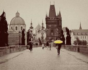Prague photograph Charles bridge print 8x12 yellow umbrella photo czech republic sepia print castle image prague wall art gift for her