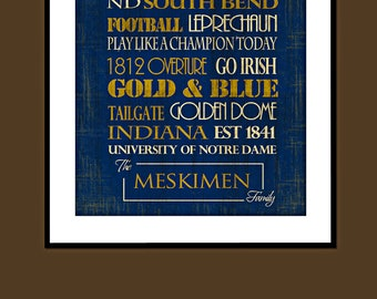 Personalized Notre Dame: Print or Canvas. University of Notre Dame. Notre Dame subway art. Gifts for Dad. Gifts for Him. Notre Dame Football
