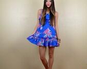 Blue and Pink Hawaiian Floral Mini Dress