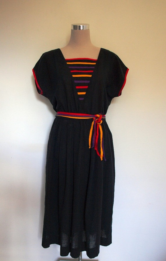 Black designer vintage dress by Gerard Pasquier Paris.