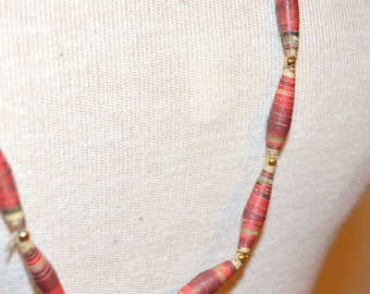 Red Paper Bead Necklace, Red and Gold Necklace, Vintage Jewelry, Vintage Necklace, Women's Jewelry, Ladies' Jewelry