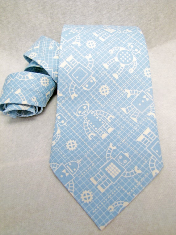 Men's Necktie - Sky Blue Graph Paper Robot