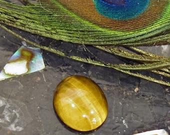 Tigers Eye Natural Chatoyant Gemstone Oval Shaped Cabochon - Tiger14X12cab