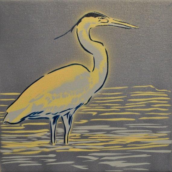 Blue Heron spray paint stencil