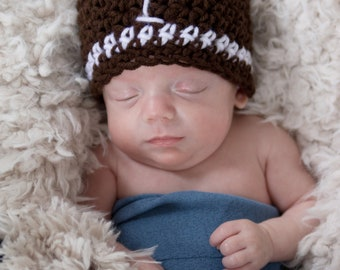 Baby boy football hat, crochet, beanie, sports, go team, photo prop, brown and white, newborn, team spirit, toddler football beanie