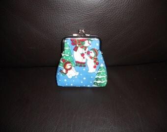 Kitsch Blue White Red Festive Christmas Snowman Snowmen Design on Silver Frame Clasp Coin Purse