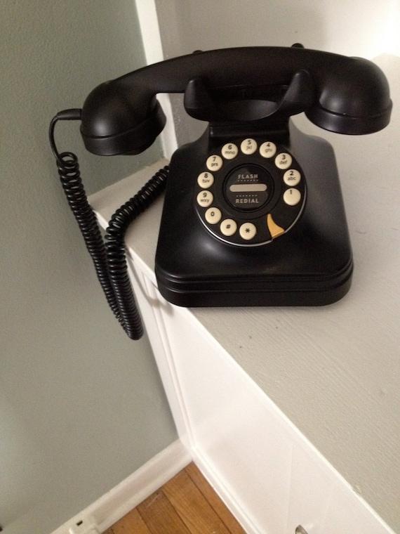 Retro 1940s // Desk Phone // Black