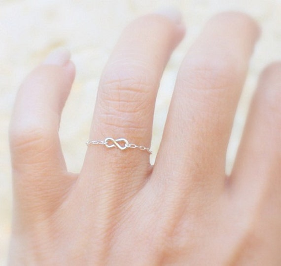 Infinity Ring Silver Delicate Chain Ring With A Tiny