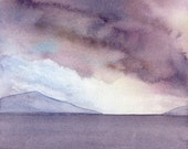 Mini painting, watercolor seascape, giclee print - After the storm, purple sunset sky - Beach cottage decor - Fine art reproduction, 4x4