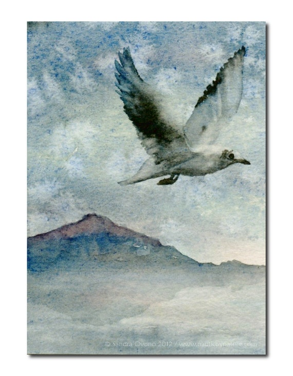 ACEO watercolor painting - Seagull in a snowy winter sky - Blue gray seascape