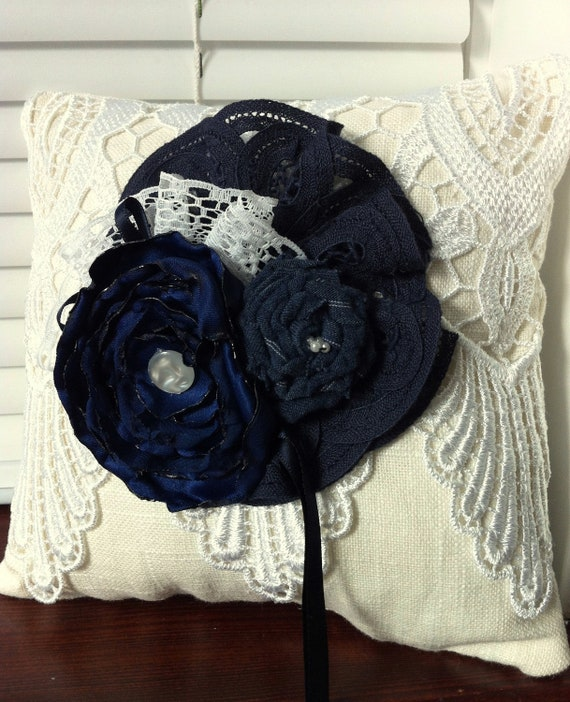 Navy Cobalt/ Midnight blue and Cream with White Lace Ring Bearer Pillow 941