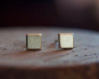 5mm unisex geometric studs. Recycled sterling silver square faceted post earrings.