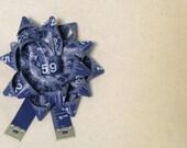 Measuring Tape Corsage Pin Navy Blue